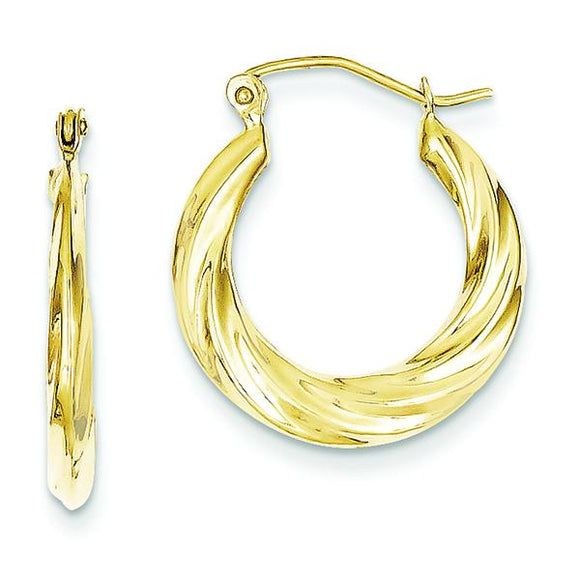 10K Fancy Small Hoop Earrings