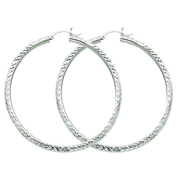 10K White Gold Hoop Earrings from Miles Beamon Jewelry - Miles Beamon Jewelry