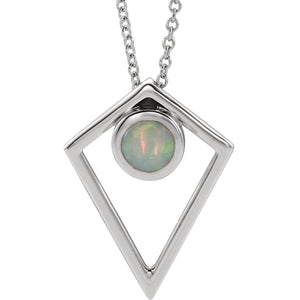 14K White Gold Opal/ Turquoise/ Onyx Cabochon Pyramid Necklace