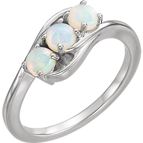 14K White Gold Opal Three Stone Ring from Miles Beamon Jewelry - Miles Beamon Jewelry