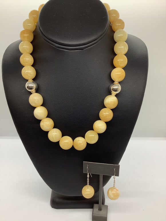 Sterling Silver Yellow Jade Necklace Set