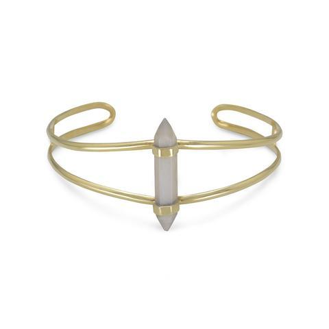 14 Karat Gold Plated Moonstone Cuff Bracelet from Miles Beamon Jewelry - Miles Beamon Jewelry