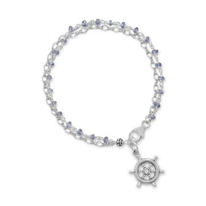 Double Strand Bracelet W/Tanzanite And Ships Helm Charm from Miles Beamon Jewelry - Miles Beamon Jewelry