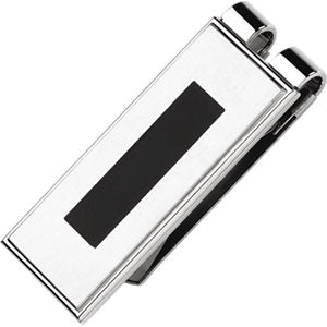 Stainless Steel Money Clip with Black Enamel from Miles Beamon Jewelry - Miles Beamon Jewelry