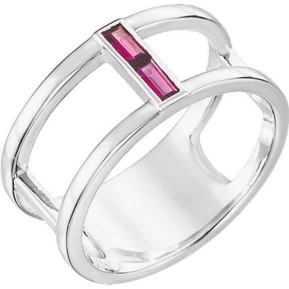 Sterling Silver Ruby Baguette Ring from Miles Beamon Jewelry - Miles Beamon Jewelry