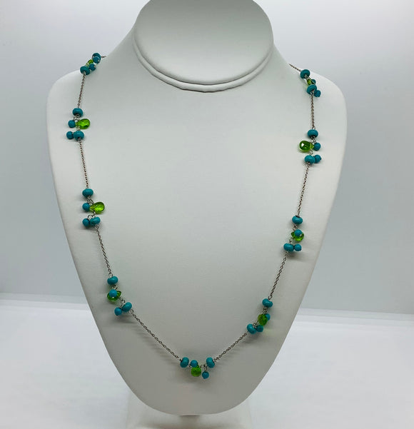 Sterling Silver Turquoise Link Necklace Set