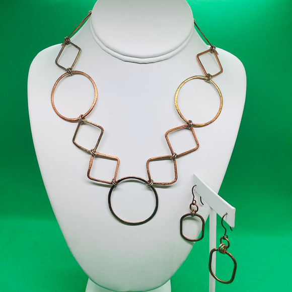 24k Bronze Metal Links Necklace Set