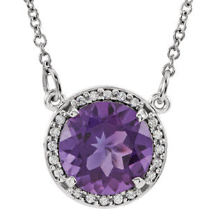 14K White Gold Amethyst Necklace from Miles Beamon Jewelry - Miles Beamon Jewelry