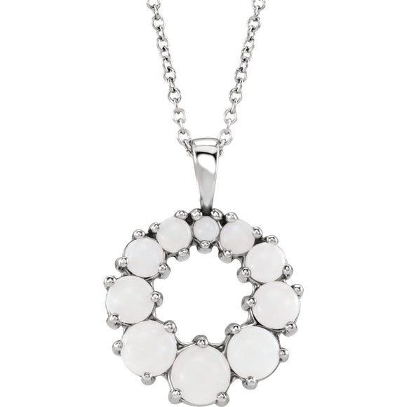 14K  White Gold Opal Halo-Style Necklace from Miles Beamon Jewelry - Miles Beamon Jewelry