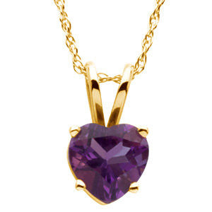 14k Yellow Genuine Amethyst Necklace