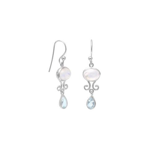 Rainbow Moonstone And Blue Topaz Drop Earrings from Miles Beamon Jewelry - Miles Beamon Jewelry