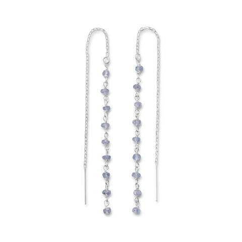 Tanzanite Bead Threader Earrings from Miles Beamon Jewelry - Miles Beamon Jewelry
