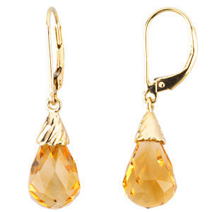 14k Yellow Citrine Briolette Earrings from Miles Beamon Jewelry - Miles Beamon Jewelry