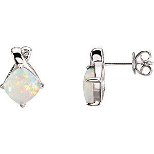 14K White Opal Earrings