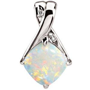 14k White Opal Pendant from Miles Beamon Jewelry - Miles Beamon Jewelry