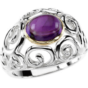 Sterling Silver & 14k Amethyst Cabochon Ring from Miles Beamon Jewelry - Miles Beamon Jewelry