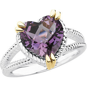 Sterling Silver & 14k Amethyst Heart Shaped Ring from Miles Beamon Jewelry - Miles Beamon Jewelry