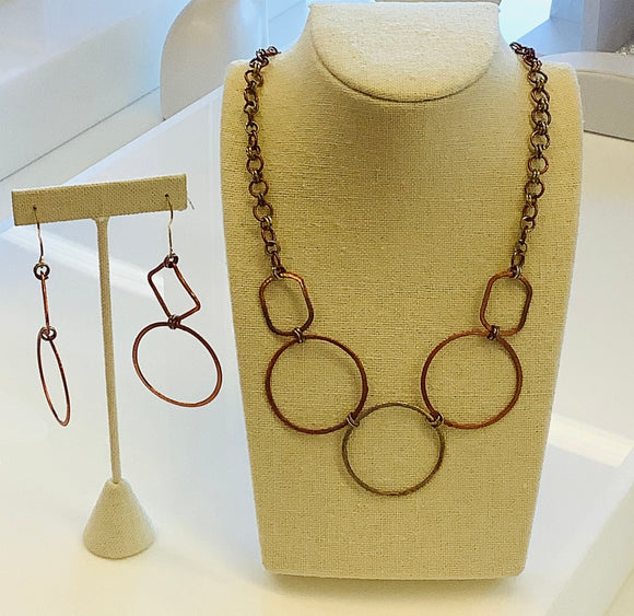 24K  Untreated Bronze Metal Necklace Set