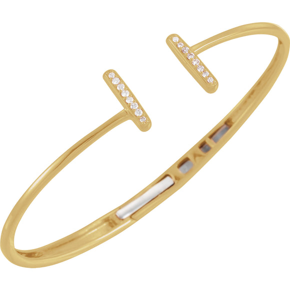 14K Yellow Gold Diamond Bar Hinged Cuff Bracelet