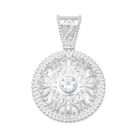 Blue Topaz Pendant with Swirl Cut Out Design from Miles Beamon Jewelry - Miles Beamon Jewelry