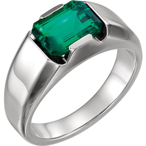 14K White Gold Created Emerald Men's Ring from Miles Beamon Jewelry - Miles Beamon Jewelry