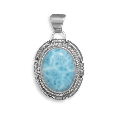 Oval Larimar Pendant from Miles Beamon Jewelry - Miles Beamon Jewelry