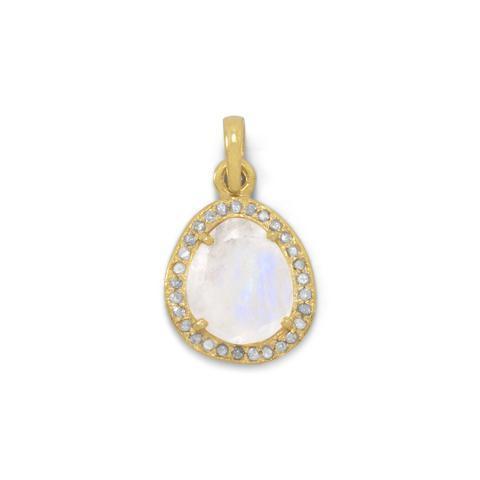 14 Karat Gold Plated Rainbow Moonstone Pendant