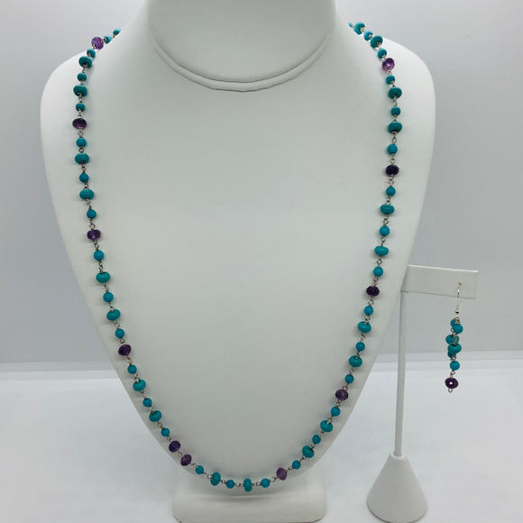 Turquoise Station Link Necklace Set