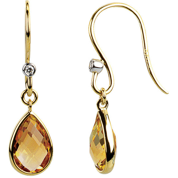 14k Citrine Dangle Earrings from Miles Beamon Jewelry - Miles Beamon Jewelry