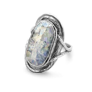 Sterling Silver  Oval Roman Glass Ring from Miles Beamon Jewelry - Miles Beamon Jewelry