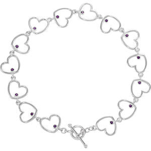 Sterling Silver Amethyst Heart Bracelet from Miles Beamon Jewelry - Miles Beamon Jewelry