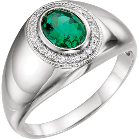 Sterling Silver Chatham Created Emerald Ring from Miles Beamon Jewelry - Miles Beamon Jewelry