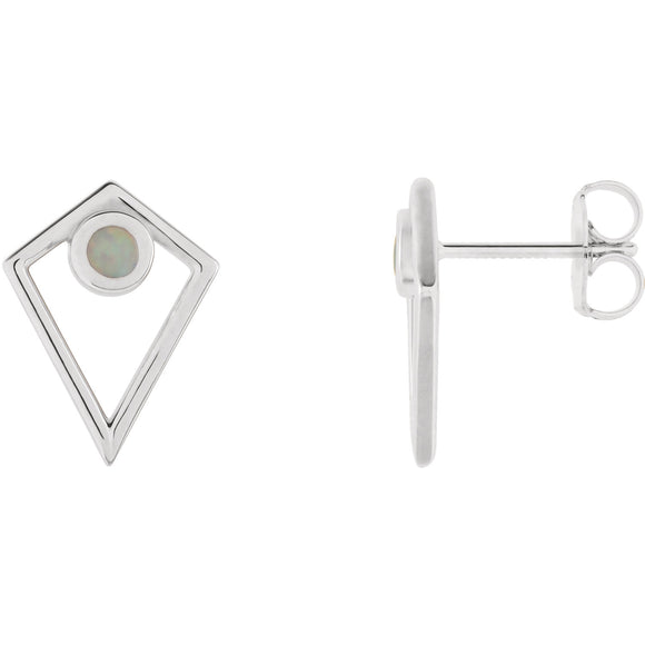 14K White Gold Opal Cabochon Pyramid Earrings
