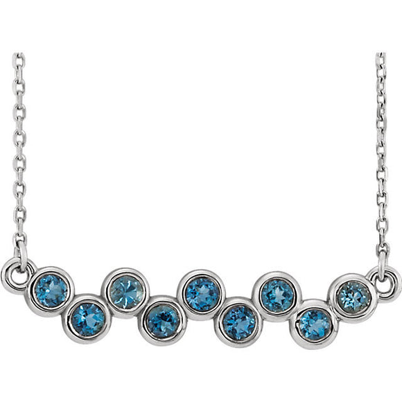 Sterling Silver Aquamarine Bezel Set Bar Necklace from Miles Beamon Jewelry - Miles Beamon Jewelry