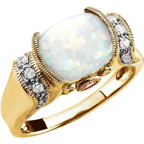 14K Yellow Gold Opal & Pink Tourmaline Ring from Miles Beamon Jewelry - Miles Beamon Jewelry