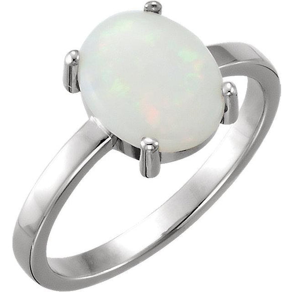 14K White Gold Oval Opal Cabochon Ring