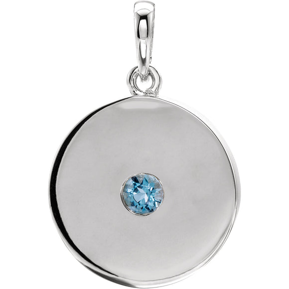 Sterling Silver Aquamarine Disc Pendant from Miles Beamon Jewelry - Miles Beamon Jewelry
