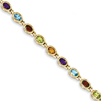14k Yellow Gold Gemstone Rainbow Bracelet from Miles Beamon Jewelry - Miles Beamon Jewelry