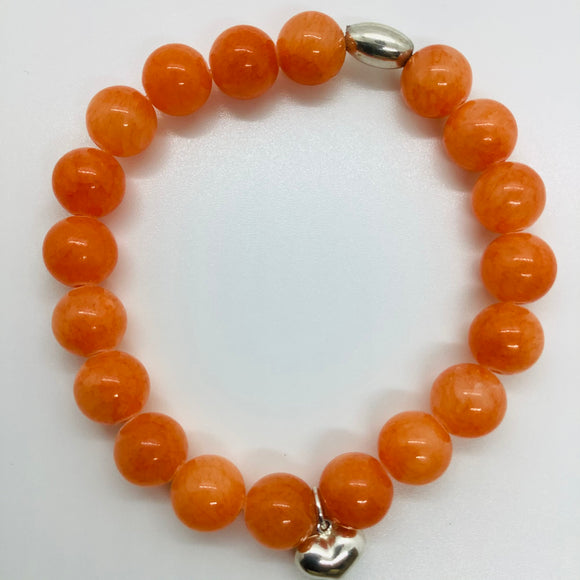 8mm Orange Jade Stretch Bracelet
