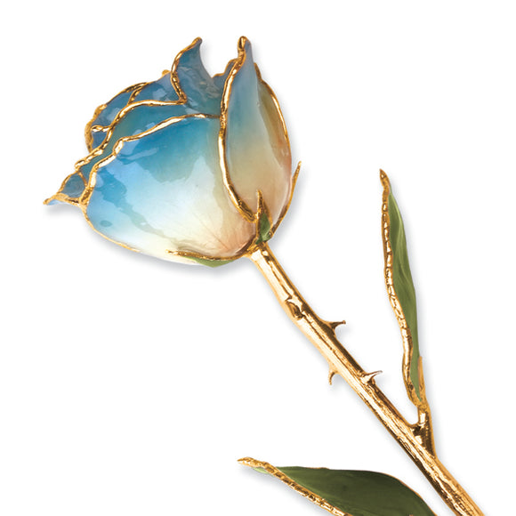 Gold Trim White And Navy Blue Pearl Rose from Miles Beamon Jewelry - Miles Beamon Jewelry