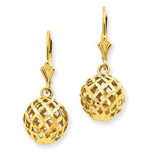 14K Yellow Gold Mesh Ball Dangle Earrings from Miles Beamon Jewelry - Miles Beamon Jewelry