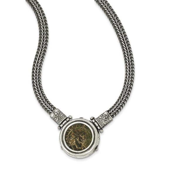 Sterling Silver Antiqued Roman Bronze Coin Necklace from Miles Beamon Jewelry - Miles Beamon Jewelry