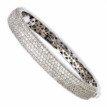 Sterling Silver Pav'e Rhodium-Plated Cubic Zirconia Hinged Bangle from Miles Beamon Jewelry - Miles Beamon Jewelry