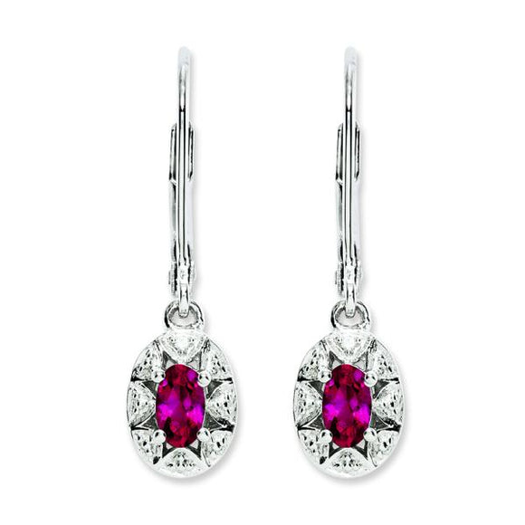 Sterling Silver Created Ruby & Diamond Earrings from Miles Beamon Jewelry - Miles Beamon Jewelry