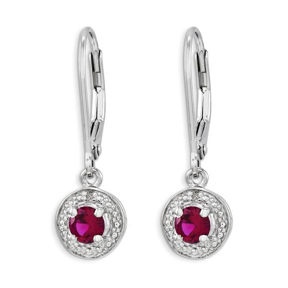 Sterling Silver Diamond & Created Ruby Earrings from Miles Beamon Jewelry - Miles Beamon Jewelry