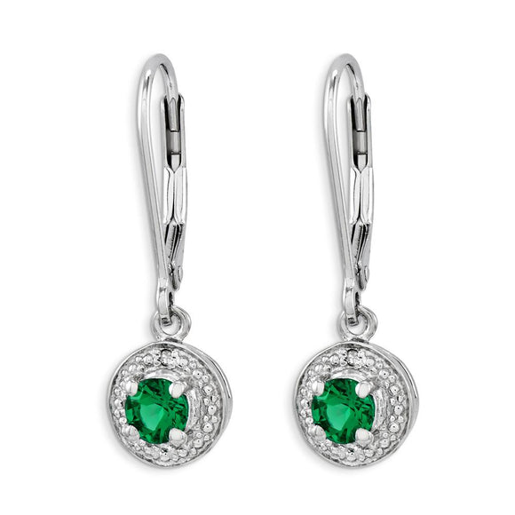 Sterling Silver And Created Emerald Earrings from Miles Beamon Jewelry - Miles Beamon Jewelry