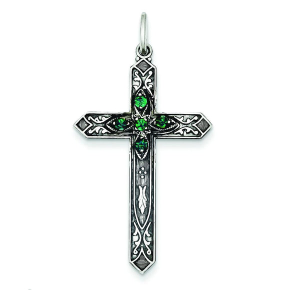 Sterling Silver May Birthstone Cross Pendant from Miles Beamon Jewelry - Miles Beamon Jewelry