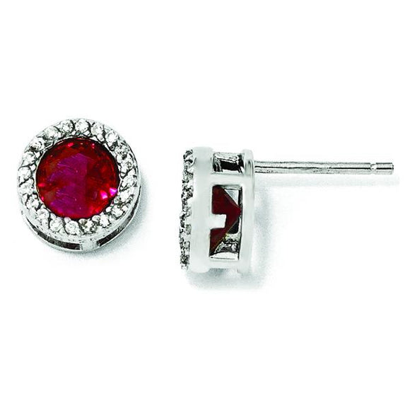 Sterling Silver Synthetic Ruby Earrings from Miles Beamon Jewelry - Miles Beamon Jewelry