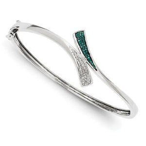 Sterling Silver Blue And White Diamond Bangle from Miles Beamon Jewelry - Miles Beamon Jewelry