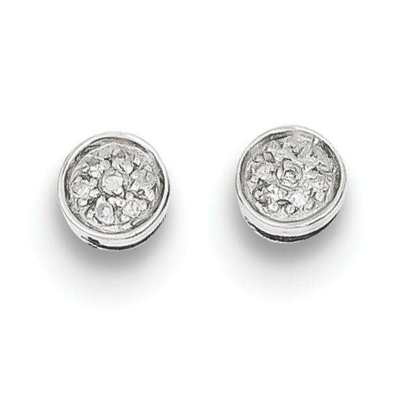 Sterling Silver Diamond Circle Post Earrings from Miles Beamon Jewelry - Miles Beamon Jewelry
